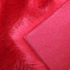 Rabbit Fur Knitted Furs Faux Fur Fabric Soft Comfortable Red Knitting Rabbit Faux Fur Fabric