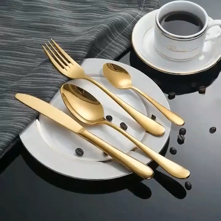 Sale Luxury Gold Restaurant Stainless Steel Cutlery 24pcs Set With Case