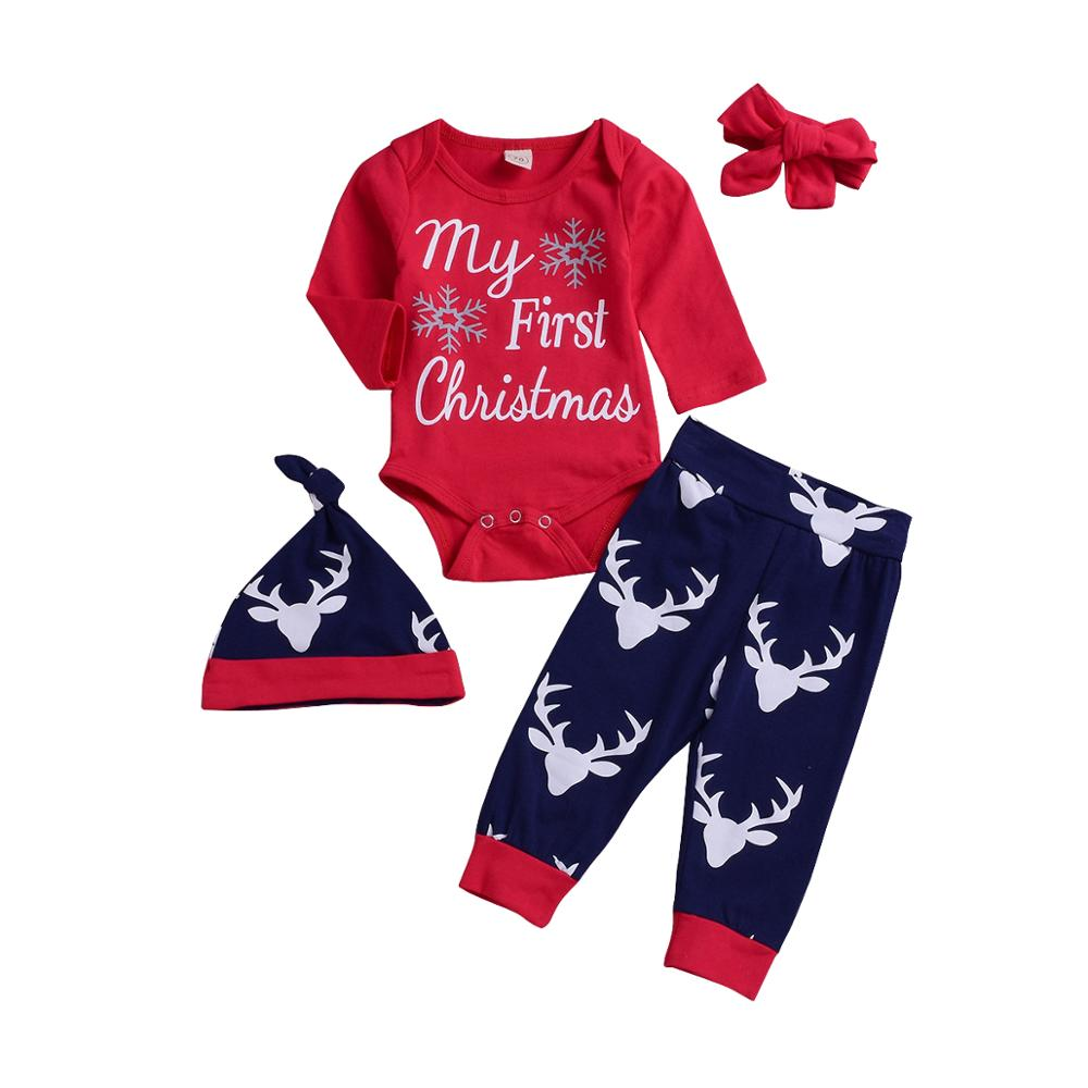 Newborn infant romper pants hat headband toddler cartoon deer long sleeve outfit my <strong>first</strong> <strong>Christmas</strong> 4pcs <strong>baby</strong> clothes set