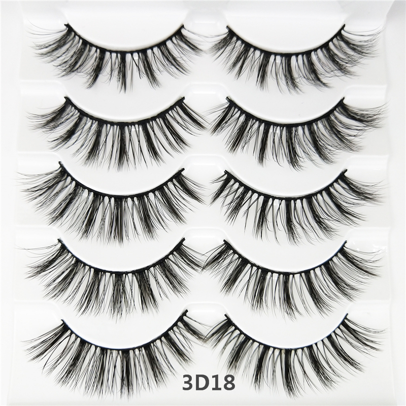 Abestyou 5 Pairs 25MM comfortable private label eye lashes 3d silk false strip eyelashes