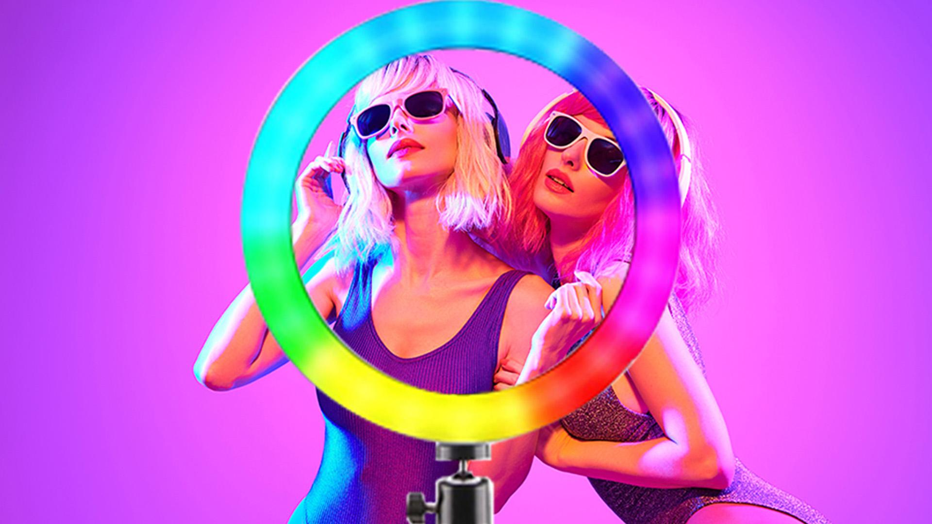 8 Inch 10 Inch Halo Bảng Usb Beauty Video Studio Ảnh Vòng Tròn Đèn RGB Led Tự Sướng Vòng Ánh Sáng Với Tripod Đứng