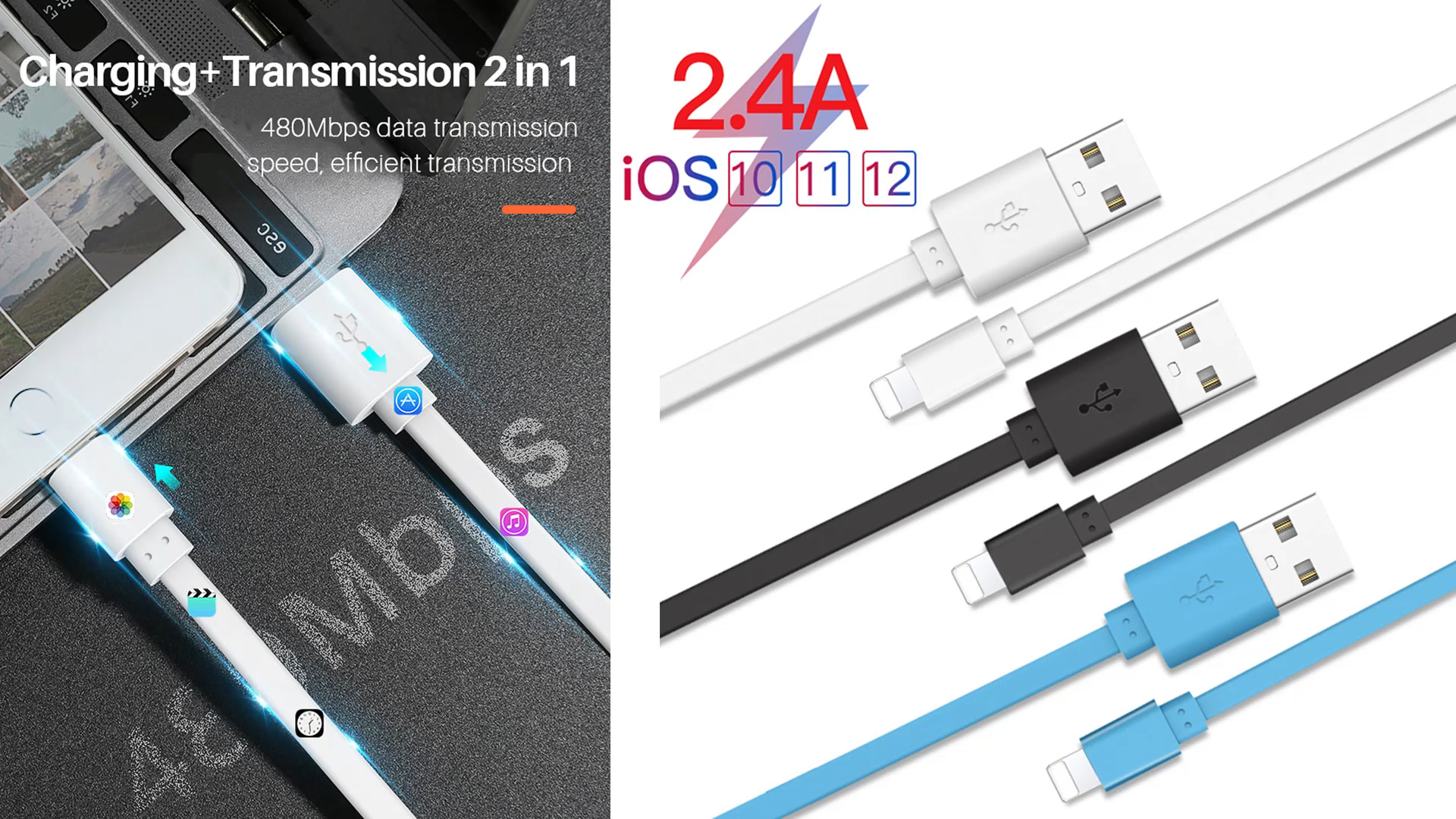 Ready To Ship 2.4A Cable i Phone Data Usb2.0 Charging Cabo For iPhone Cable Light ning Phone  Mobile Charger Ladekabel USB Cable