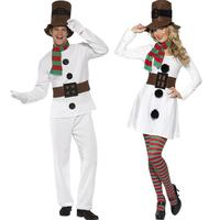 Adult Christmas couples wear snowmen white cosplay costume