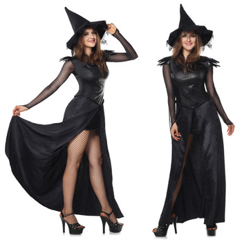 China Factory Sexy Halloween Costume black witch costume for Adult Woman