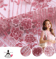 China Direct Manufacture Latest Pink Net Mesh Fabric, With Pink Sequin Embroidery Beaded 3D Flowers Lace Fabric