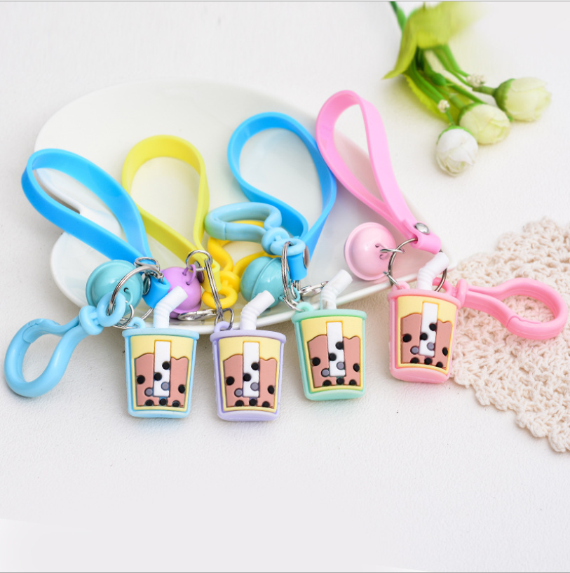 Creative Silicone Milk Tea Cup Stereo Car Keychain <strong>Cute</strong> Bag Pendant Couples Accessories <strong>Gift</strong> Wholesale