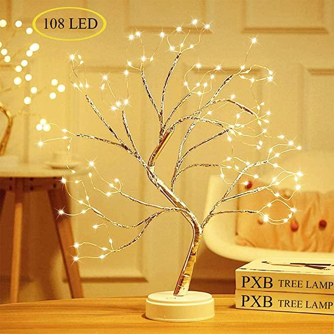 ไฟต้นไม้บอนไซตั้งโต๊ะพร้อมไฟสายทองแดงLED 108,โคมไฟต้นไม้เทียมDIYทำงานด้วยแบตเตอรี่/USB
