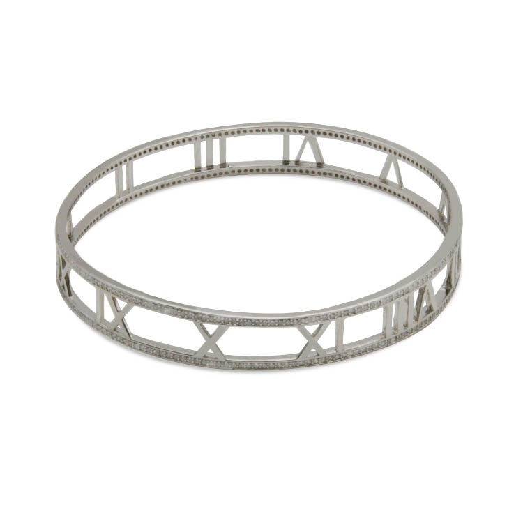 925 Sterling silver jewelry wholesale rhodium plated bangle bracelets for women