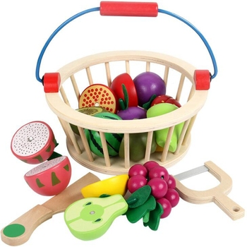 montessori simulation food toy pretend play kitchen toy set wooden magnetic cutting fruits/vegetables toy