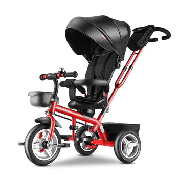 Baby tricycle for 1-5 years, with foldable Canopy kids metal tricycle for kids car baby toys