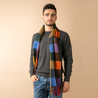 Wholesale winter fashion plaid men's knitted plain wool scarf