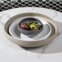 Nordic Modern black dry fruits plate set cream decorative matte white ceramic fruit bowl for tabletop decor home accessories