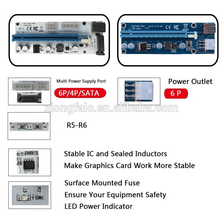 Wholesale 60cm USB3.0 Riser Card PCI-E 16x PCI-E riser ver 008s PCI-E Extender Adapter SATA 6Pin for BTC Crypto Mining GPU