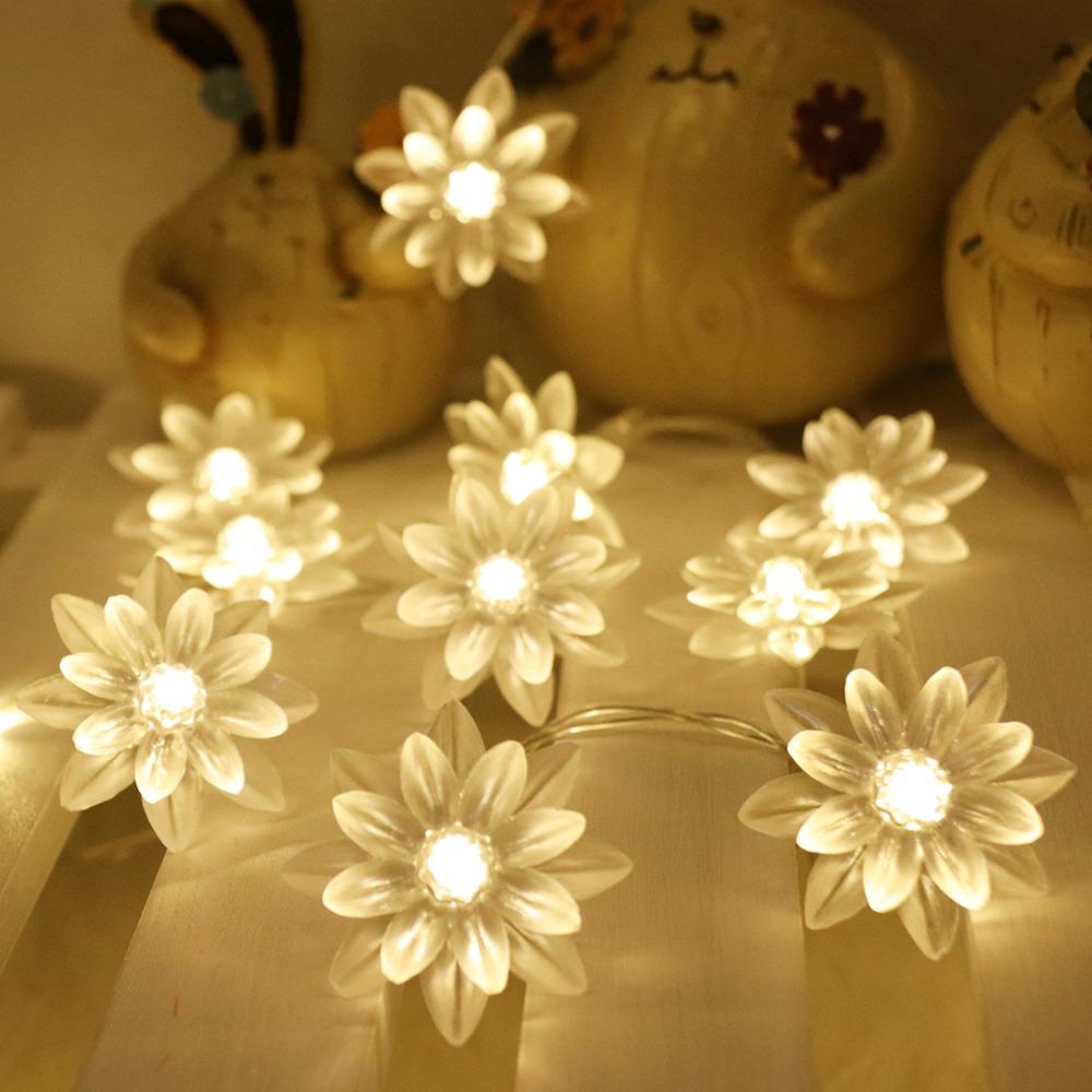 SHENPU Patio String Lights Hanging 20 Led Lotus Shape Solar Led Flower Light Christmas