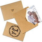 OurWarm Amazon Hot Sale 8PCS Retro Art Kraft Thank You Card Bulk Greeting Card With Envelopes