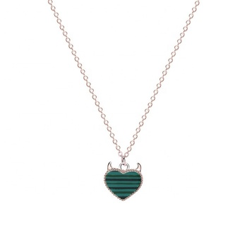 New Material 925 Sterling Silver With Green Color Malachite Devil Heart Necklace Free Shipping 2020