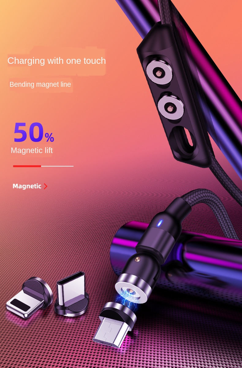 Rotation 180 The Degree 540round Fast Charging Magnetic Charging Cable