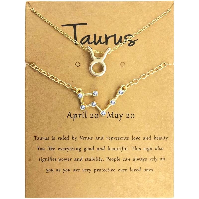 HOVANCI Custom 12 Horoscope Zodiac Sign Gold Pendant Necklace Bracelet Sets Aries Leo 12 Constellations Jewelry Kids Women Gifts