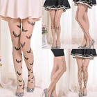 PT37 6 Styles Women Tattoo Tights Lolita Fancy Hosiery Cute Patterns Printed Pantyhose Ladies Gifts