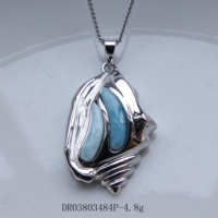 100% 925 Sterling Silver Hawaiian Jewelry Natural Blue Larimar Conch Shell Pendant for Women