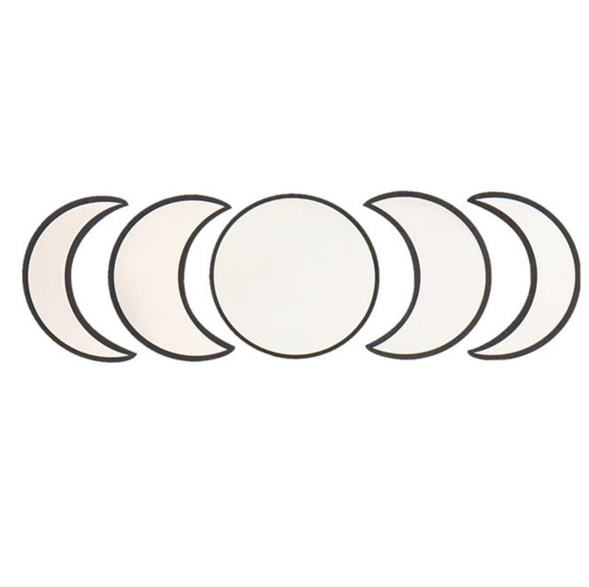 Dropshipping Scandinavian Acrylic Wooden Bohemian Crescent Moon Phase Mirror Set