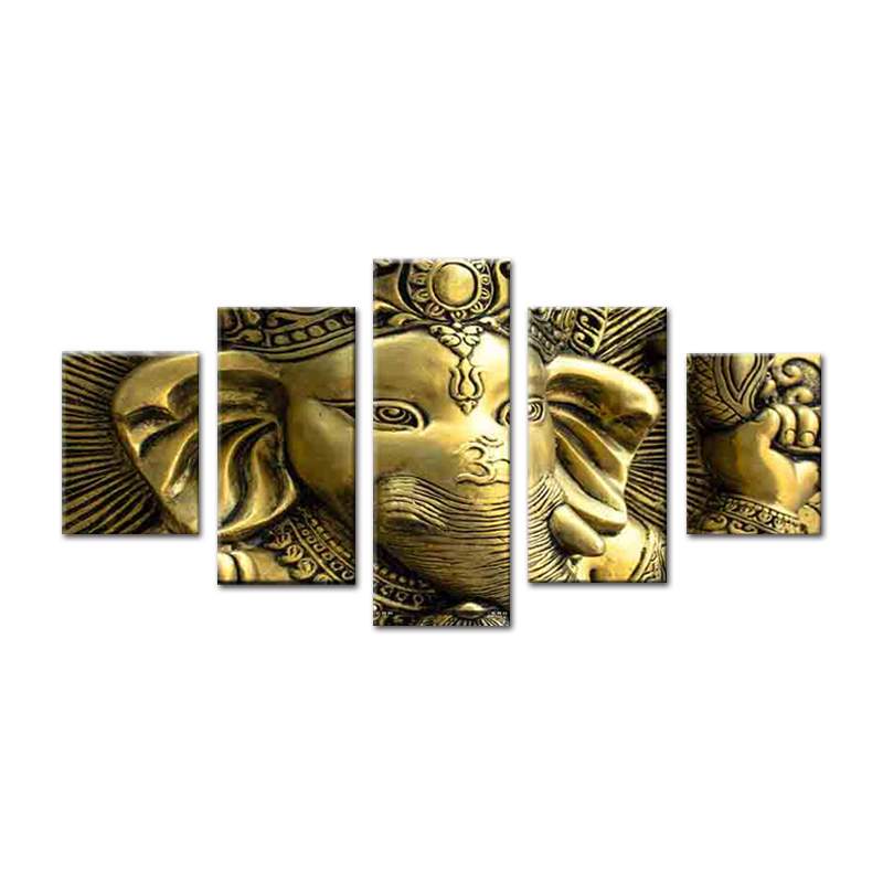 India Olifant God Ganesha schilderen op canvas buddha wall art 5 panel acryl spray prints factory wholesale home decor