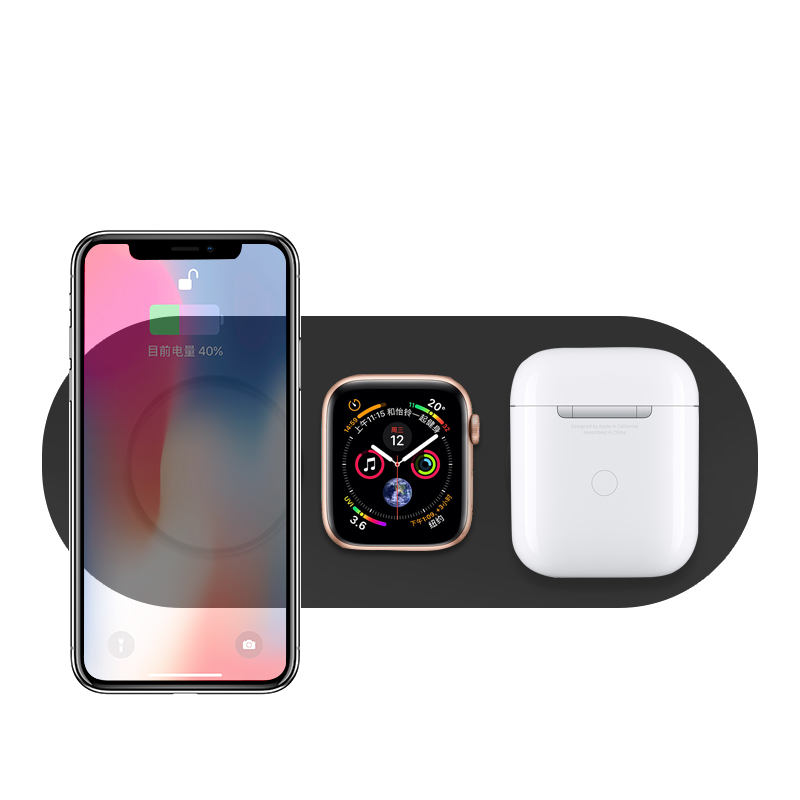 W95 New 3in1 Wireless Charger for Smartphone for TWS Earphones Earbuds for Apple Watch Shenzhen BSCI Factory