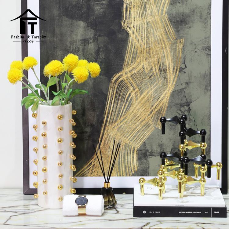 Cylindrical modern handcrafted marble vases with gold beads vase