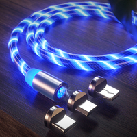 Fast Charging Multi Charger Cord Magnetic 3 in 1 Micro Type c Quick Charger Led Charging USB Cable