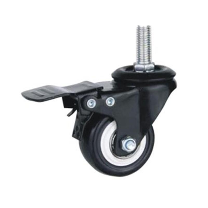40mm 50mm black metal fork industrial wheel caster with M8 M10 metal stem for display rack