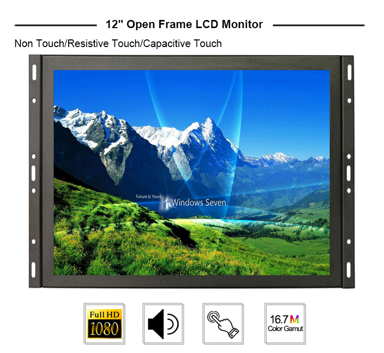 12 inch 1280*800 hdmi input open frame touch screen monitor