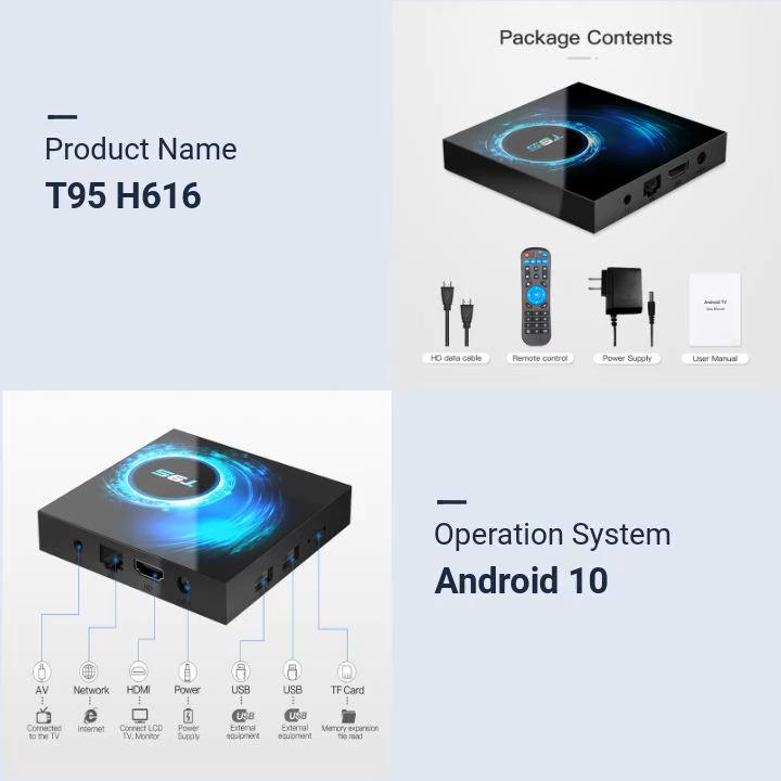2020 Mới Nhất Android 10.0 TV Box T95 Allwinner H616 4GB 32GB 64GB Wifi IPTV Thông Minh Android TV hộp 4K 6K 2GB 16GB T95 Set Top Box