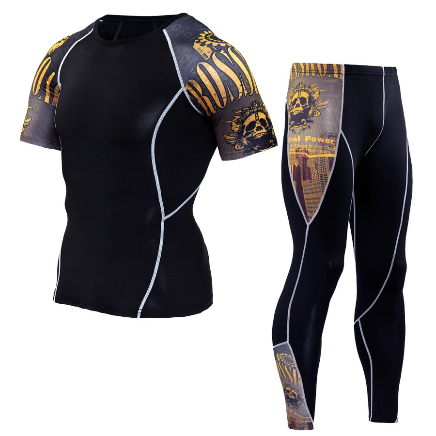 Men Sportswear Compression Sport Suits Quick Dry Running Sets Clothes Sports Joggers Training Gym Fitness Tracksuits Running Set 3