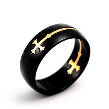 Винтажное Золотое кольцо из нержавеющей стали с разделяемым крестом, мужские кольца в стиле панк, ювелирные изделия для мужчин, обручальное...(Китай)