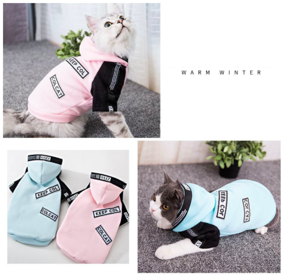 3Takins Personalized cool design Amazon hot sale 2 legs hoodies with caps autumn winter cute pet cat clothes