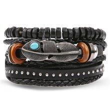 Мужской Многослойный кожаный браслет IFMIA, винтажный плетеный браслет ручной работы со звездами и перьями, Подарочный браслет(Китай)