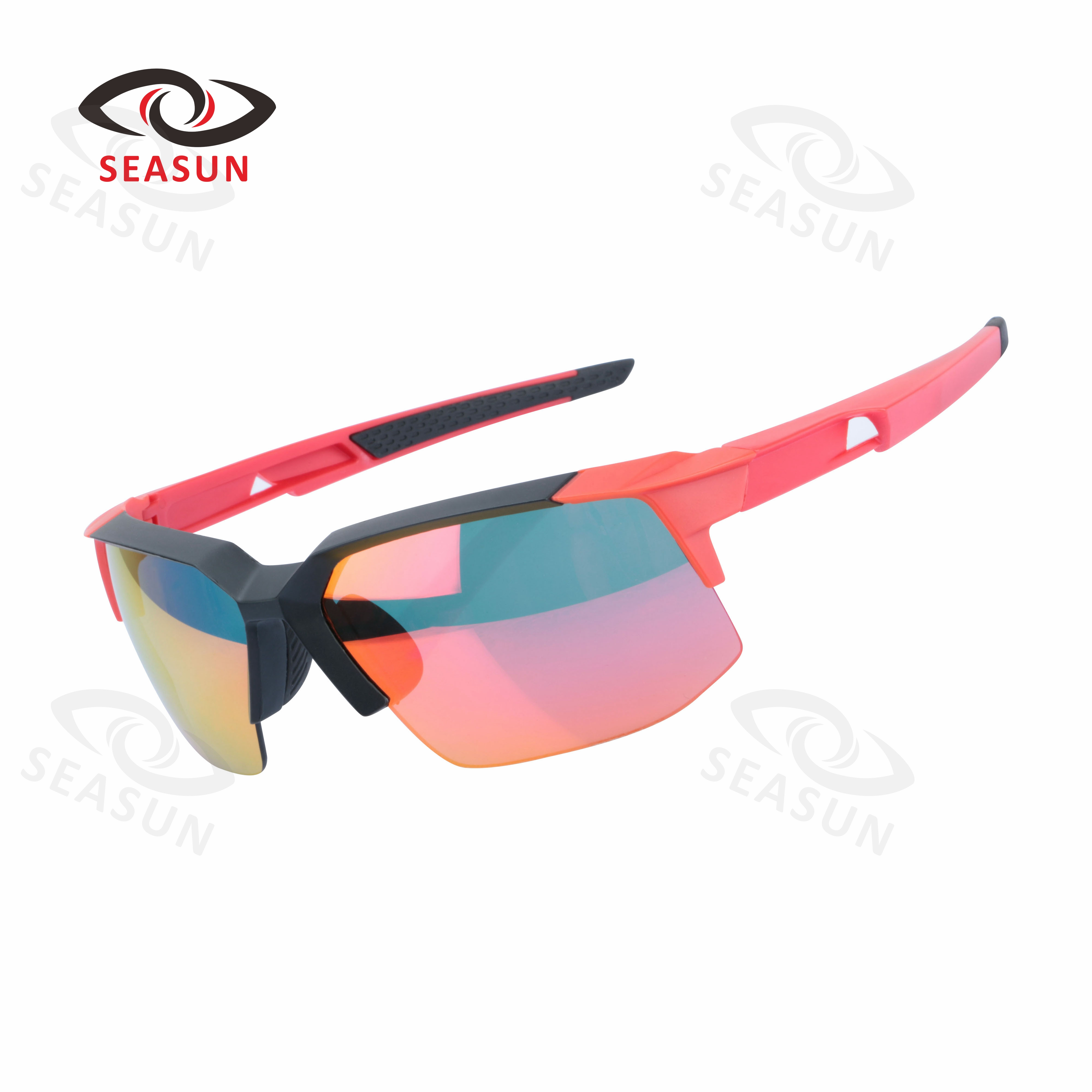 Black Red Half Rimless Hollow out Optical Eyeglass Frame Spectacles Rx 21001
