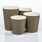 8OZ logo printed Disposable paper hot coffee ripple wall cups