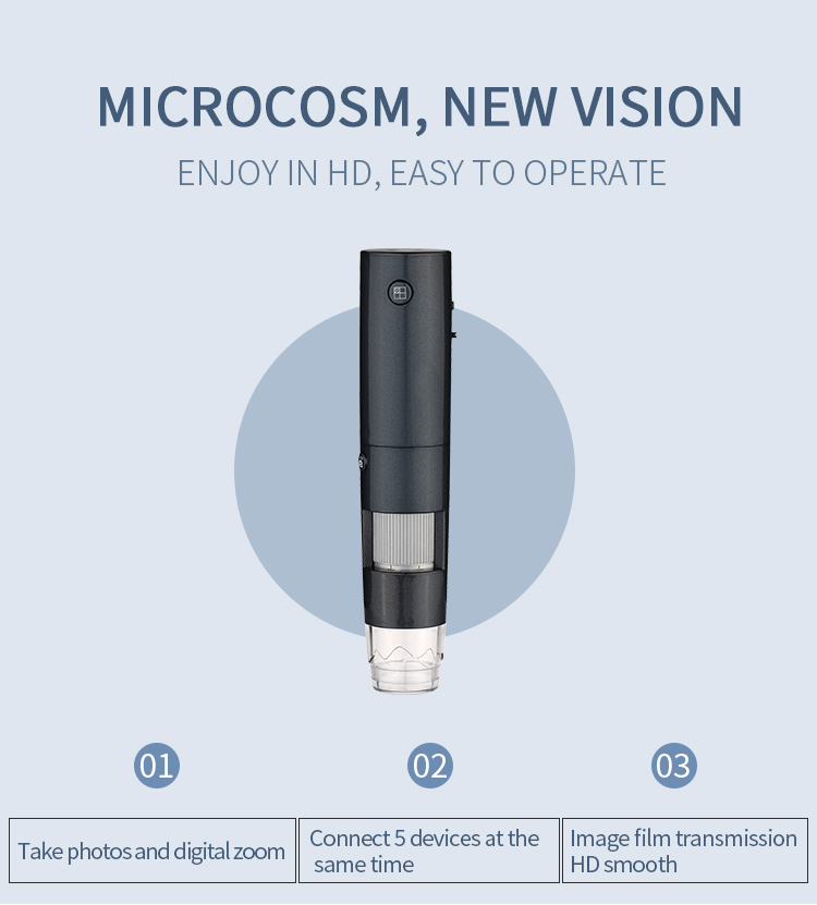 WiFi Digital Microscope Rechargeable Camera Handheld Microscope 600x Magnification with Metal Stand for IOS/Android/Wifi