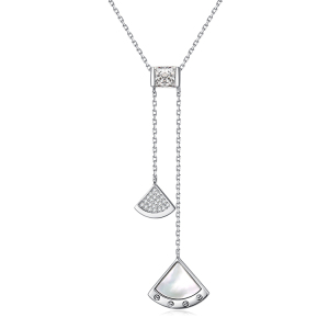 2020 wholesale Hot Sale Custom Pure Silver Chain Necklace Double Sector Pendant Necklace With CZ Shell For Lady