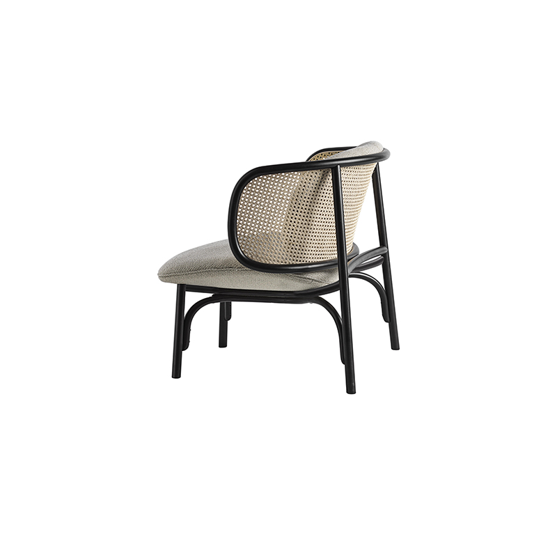 MoMA American Style Wood Woven Cane Lounge Bent Beech Easy Chair