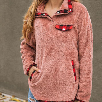 2019 Fall Winter Women pocket fleece Button pullover