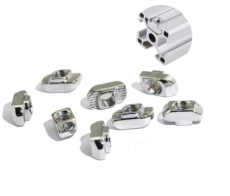 2020 Series Aluminum Extrusion M5 T-Slot Aluminum Carbon Steel Drop in T-Nut M5