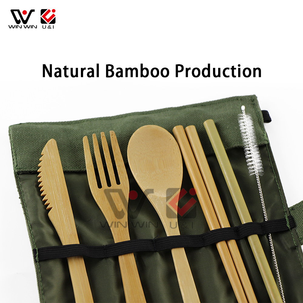Newest Wholesale Wood Fork Spoon Knife Set Bamboo Straw Dinnerware Set with Canvas Bag Chopsticks