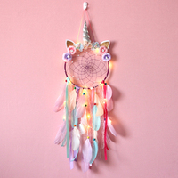 Colorful unicorn dream catcher kids good dream macrame dreamcatcher supplier with fearthers