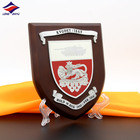Mdf Award Wooden Trophy Plaque Longzhiyu 13years Manufacturer Wood Shield MDF Plaque Custom Design Blank Wooden And Metal Shield Trophy Wall Award Pl