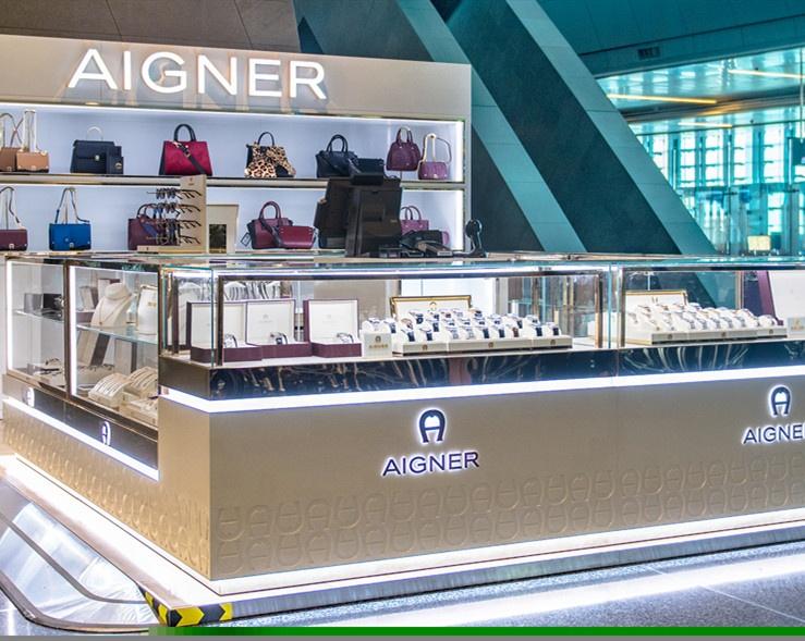Luxury Jewelry Showcase Wood Jewelry Display Counter Retail  Modern Jewelry Kiosk for Mall