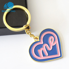 Custom fashion purple Valentine's Day gift lacquer soft ename heart logo keychain