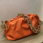 latest women big gold chain cloud bag orange leather cloud dumpling bag luxury bag 2020 for sale