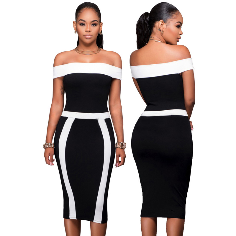 2020 New Fashion Wholesale Sexy Tight Off Shoulder Bodycon Dresses Women Lady Elegant